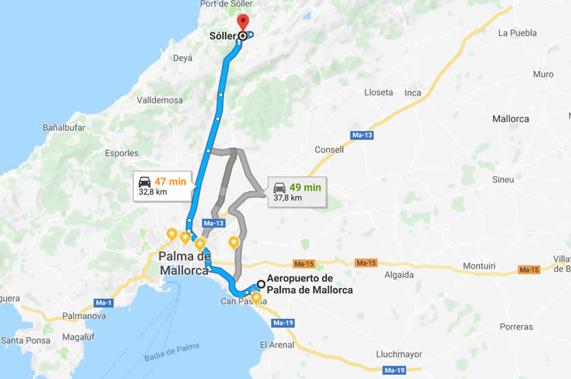 Palma Mallorca airport to Soller
