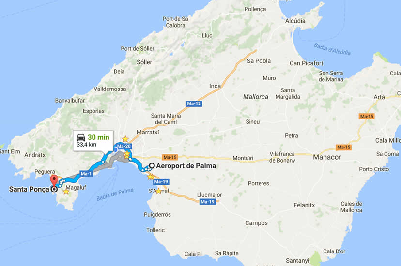 Transfers from Palma airport to Santa Ponsa